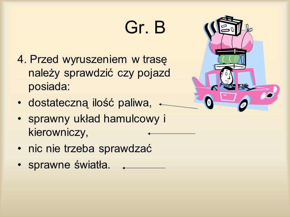 Gr. B 4. Przed wyruszeniem w trasę należy sprawdzić czy pojazd posiada: dostateczną ilość paliwa, sprawny układ hamulcowy i kierowniczy,