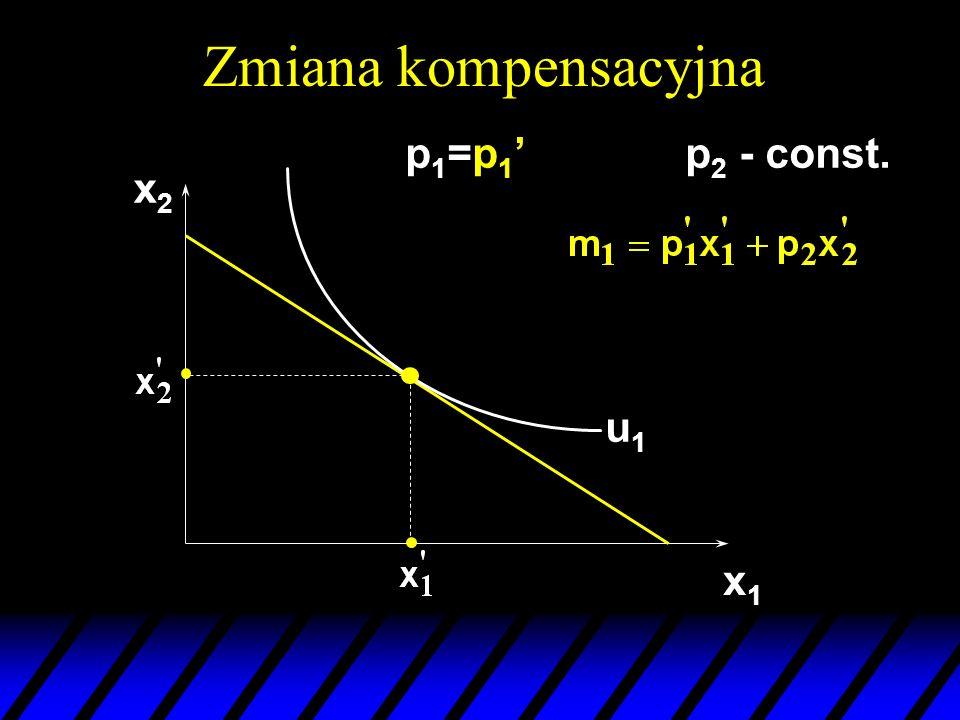 Zmiana kompensacyjna p1=p1' p2 - const. x2 u1 x1