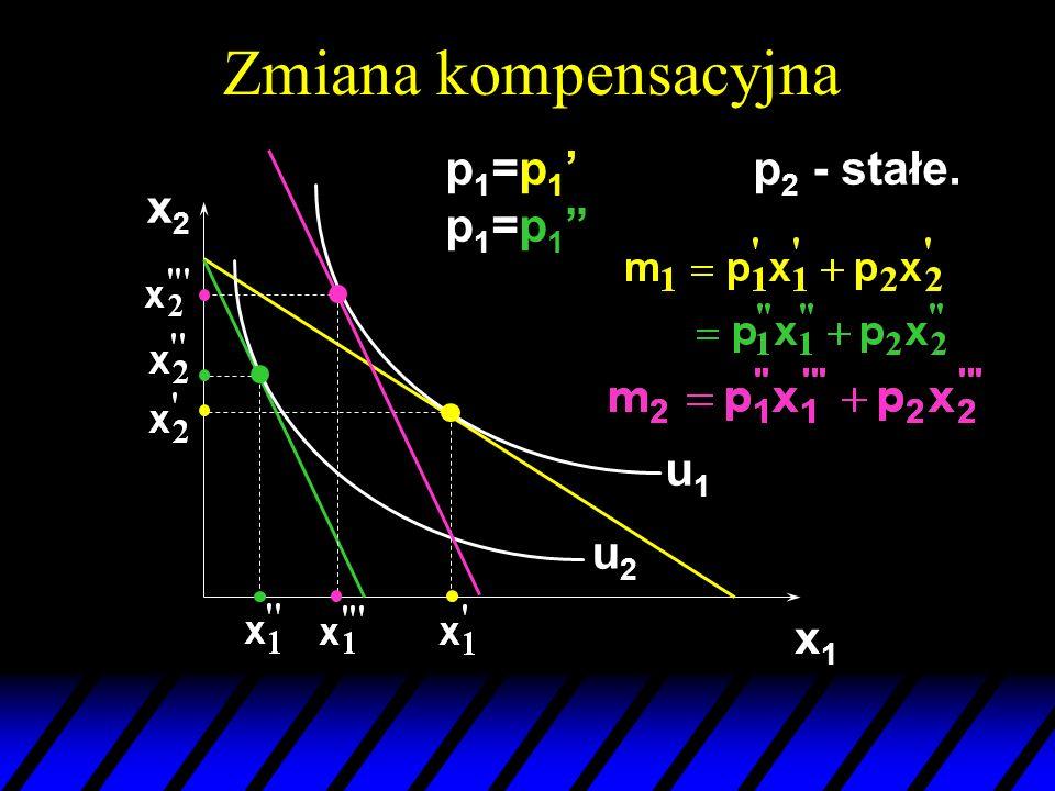 Zmiana kompensacyjna p1=p1' p1=p1 p2 - stałe. x2 u1 u2 x1