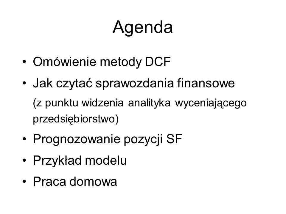 Agenda Omówienie metody DCF Jak czytać sprawozdania finansowe