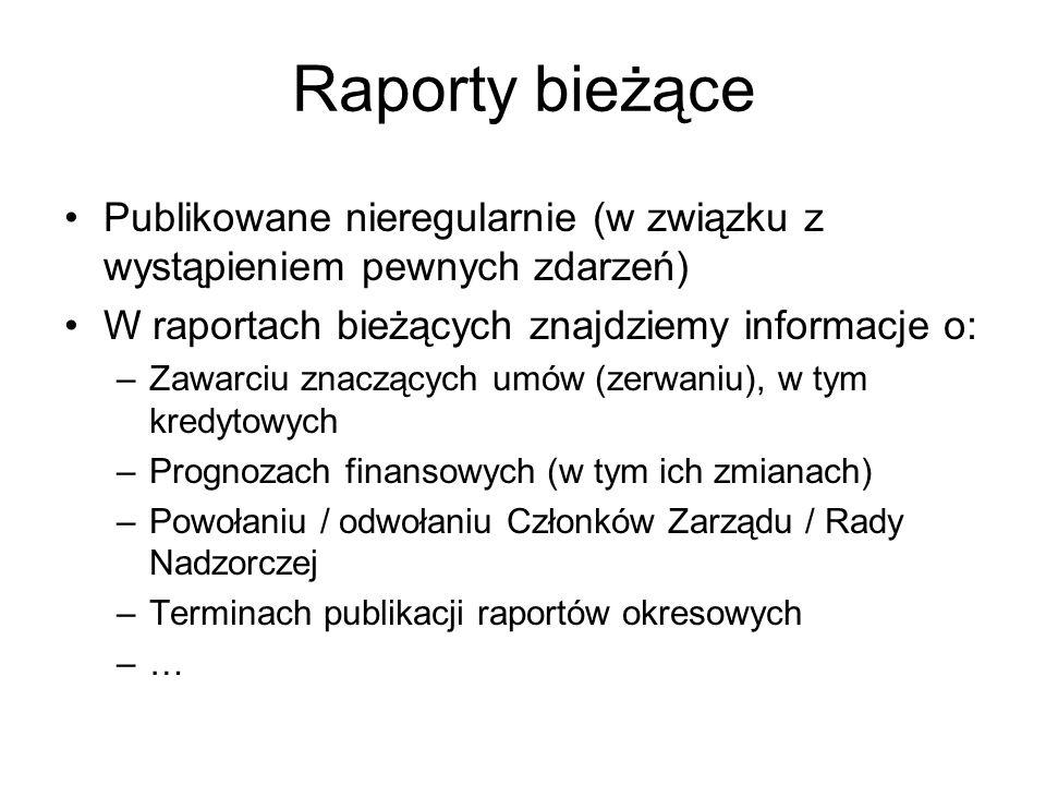 Raporty bieżące Publikowane nieregularnie (w związku z wystąpieniem pewnych zdarzeń) W raportach bieżących znajdziemy informacje o: