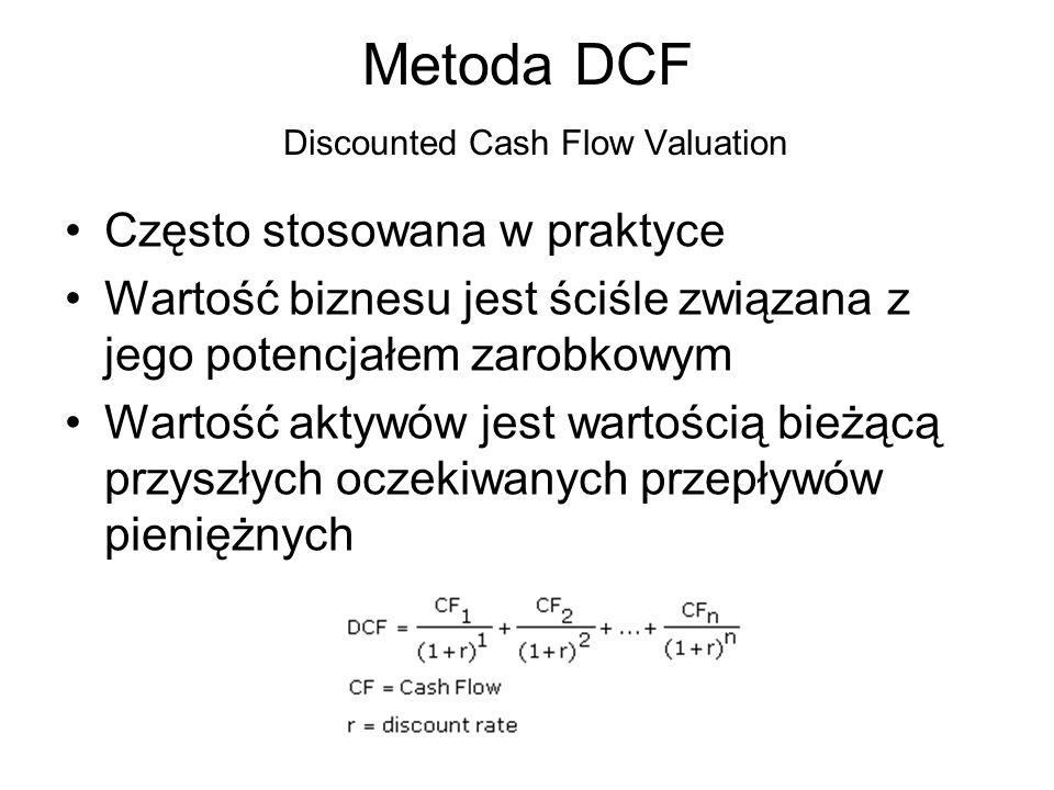 Metoda DCF Discounted Cash Flow Valuation