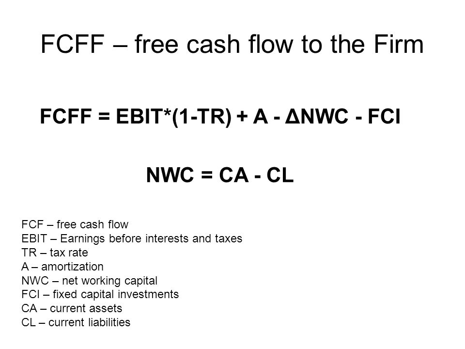 FCFF – free cash flow to the Firm