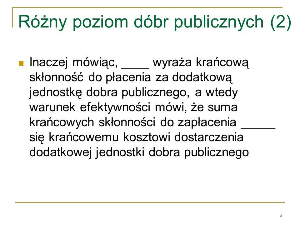 Różny poziom dóbr publicznych (2)