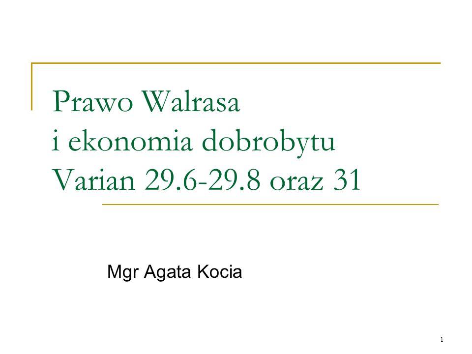 Prawo Walrasa i ekonomia dobrobytu Varian 29.6-29.8 oraz 31