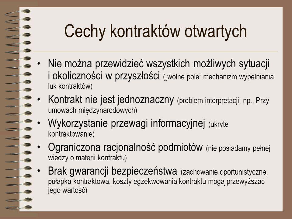 Cechy kontraktów otwartych