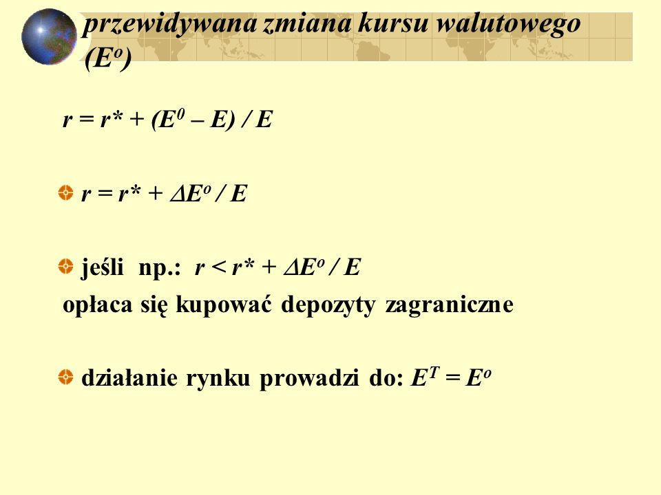 przewidywana zmiana kursu walutowego (Eo)