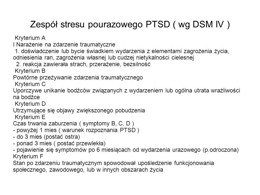 Zespół stresu pourazowego PTSD ( wg DSM IV )
