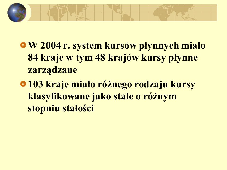 W 2004 r. system kursów płynnych miało 84 kraje w tym 48 krajów kursy płynne zarządzane