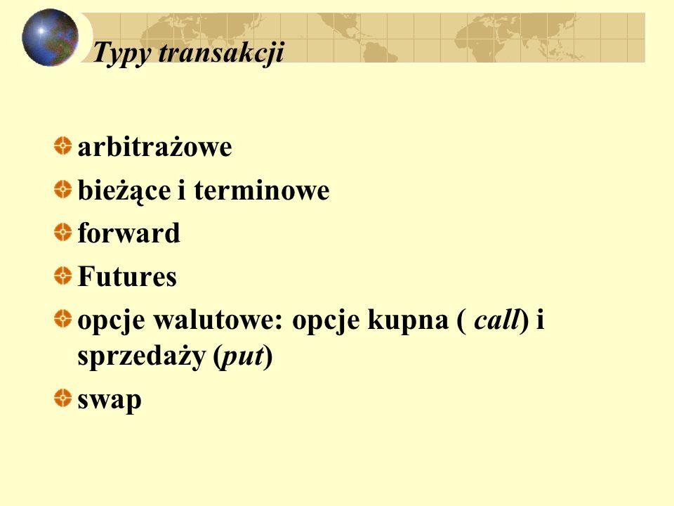 Typy transakcji arbitrażowe. bieżące i terminowe. forward. Futures opcje walutowe: opcje kupna ( call) i sprzedaży (put)