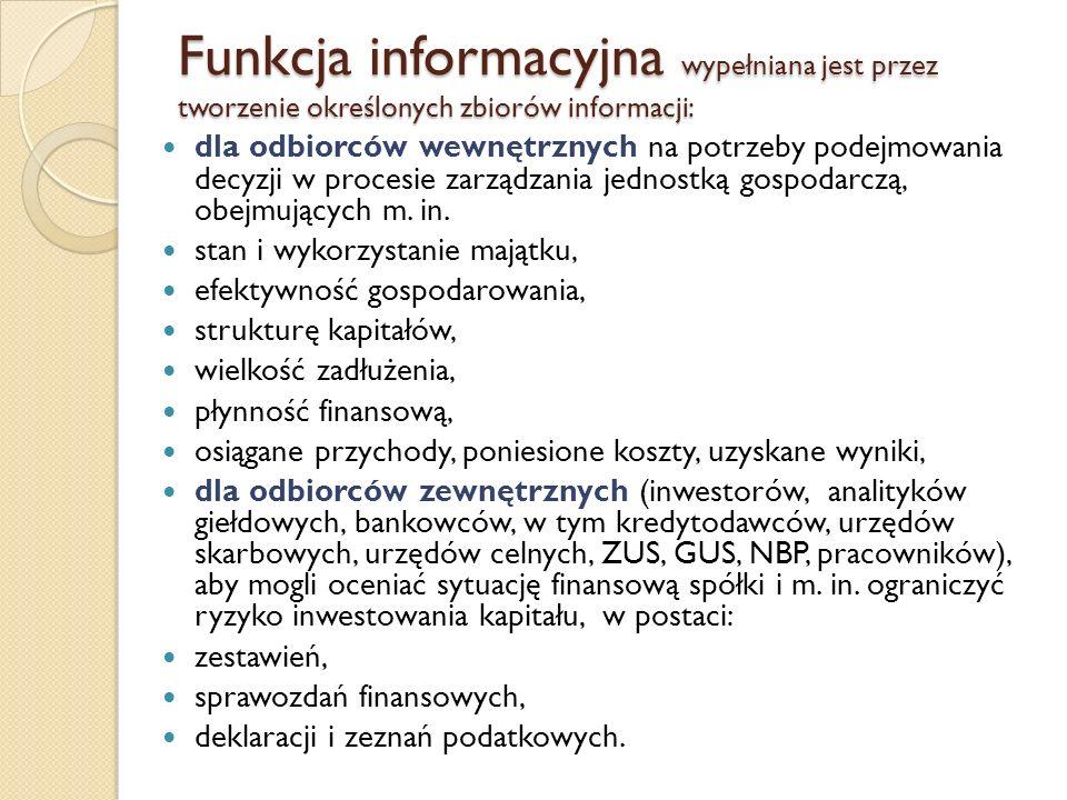 Funkcja informacyjna wypełniana jest przez tworzenie określonych zbiorów informacji: