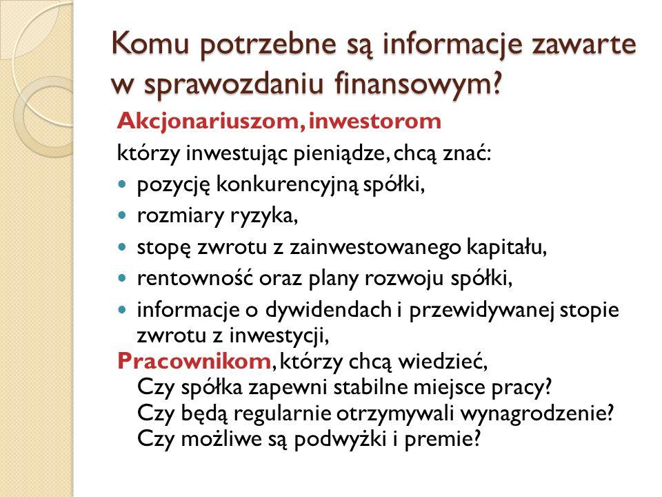 Komu potrzebne są informacje zawarte w sprawozdaniu finansowym