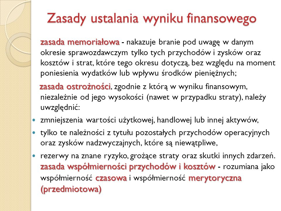 Zasady ustalania wyniku finansowego