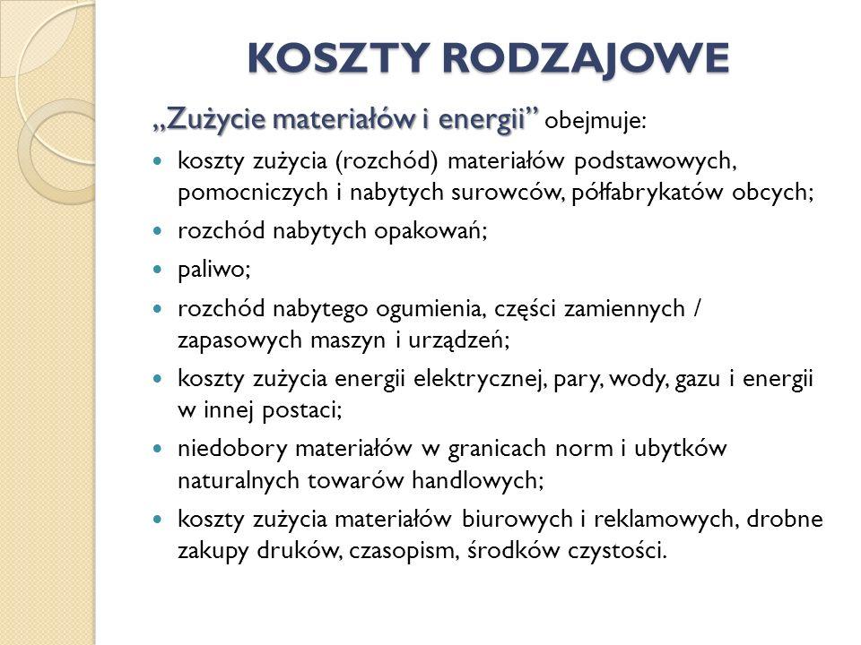 """KOSZTY RODZAJOWE """"Zużycie materiałów i energii obejmuje:"""