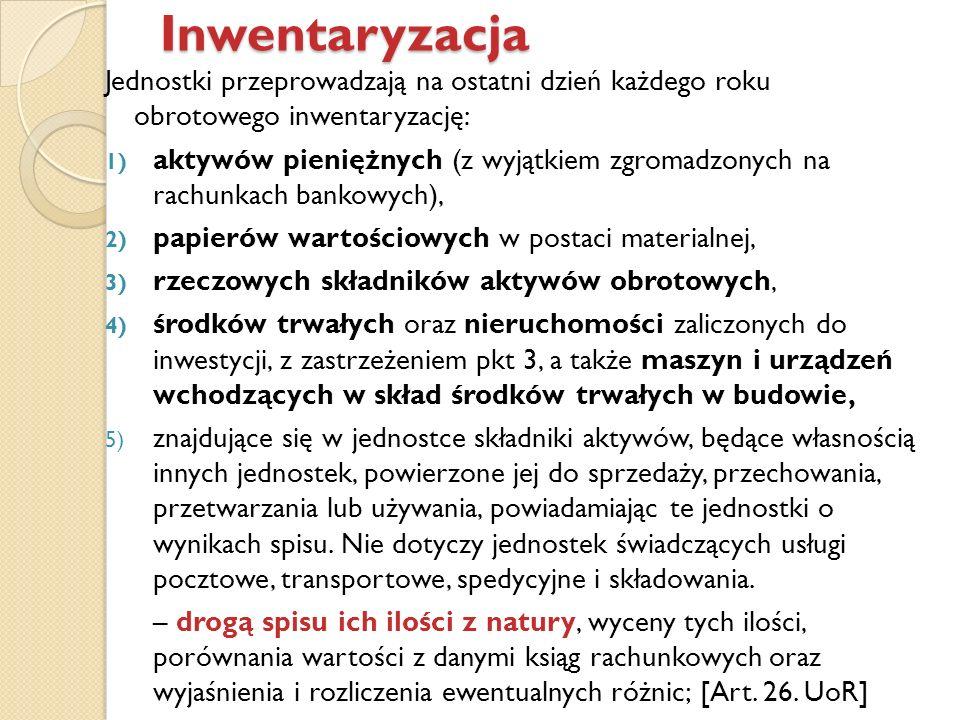 InwentaryzacjaJednostki przeprowadzają na ostatni dzień każdego roku obrotowego inwentaryzację: