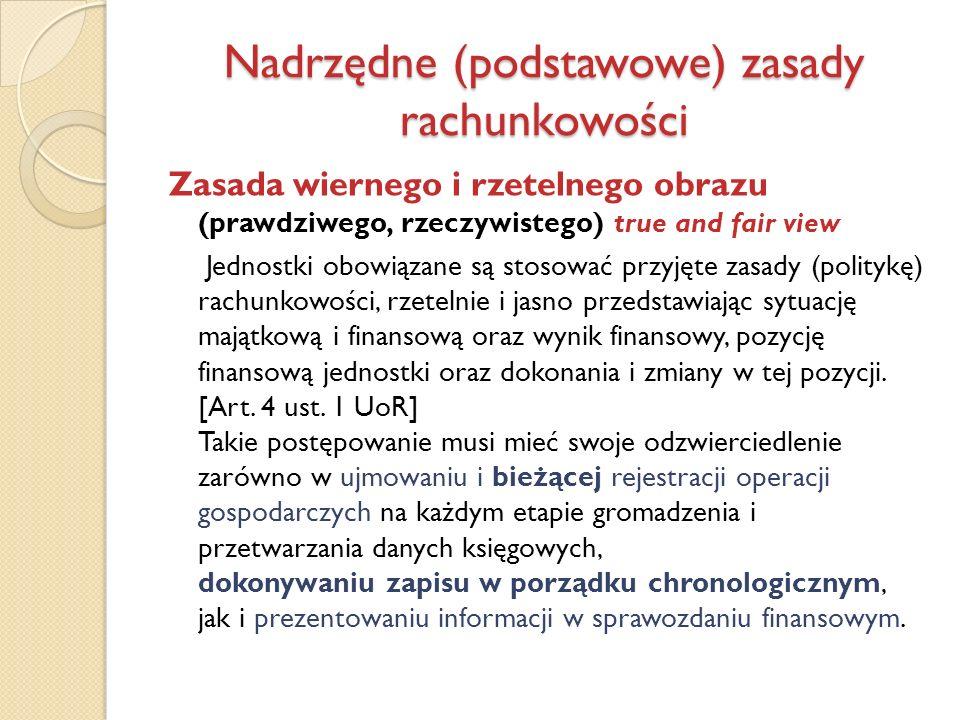 Nadrzędne (podstawowe) zasady rachunkowości