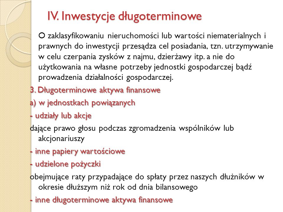 IV. Inwestycje długoterminowe