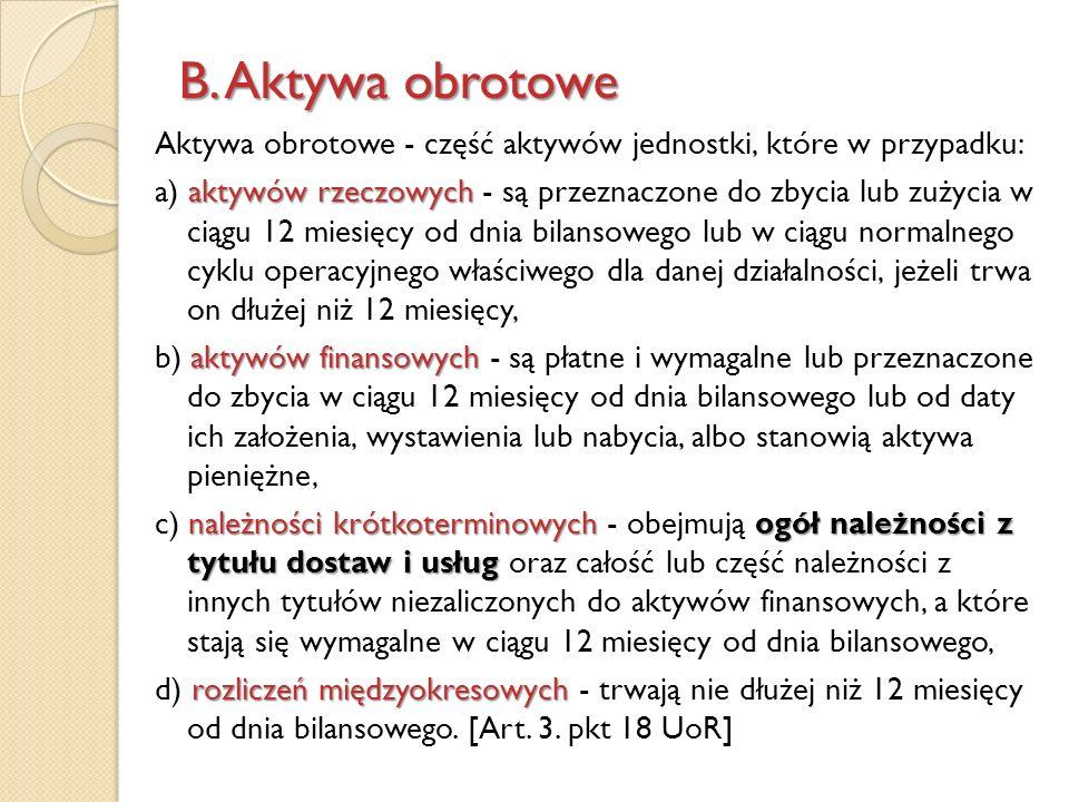 B. Aktywa obrotowe Aktywa obrotowe - część aktywów jednostki, które w przypadku: