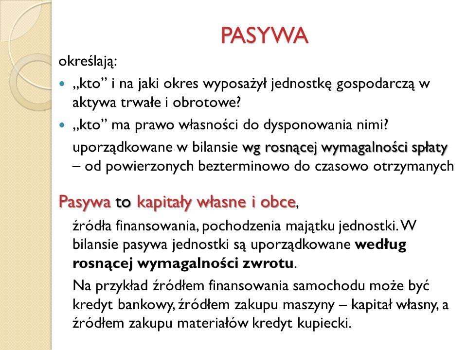 PASYWA Pasywa to kapitały własne i obce, określają: