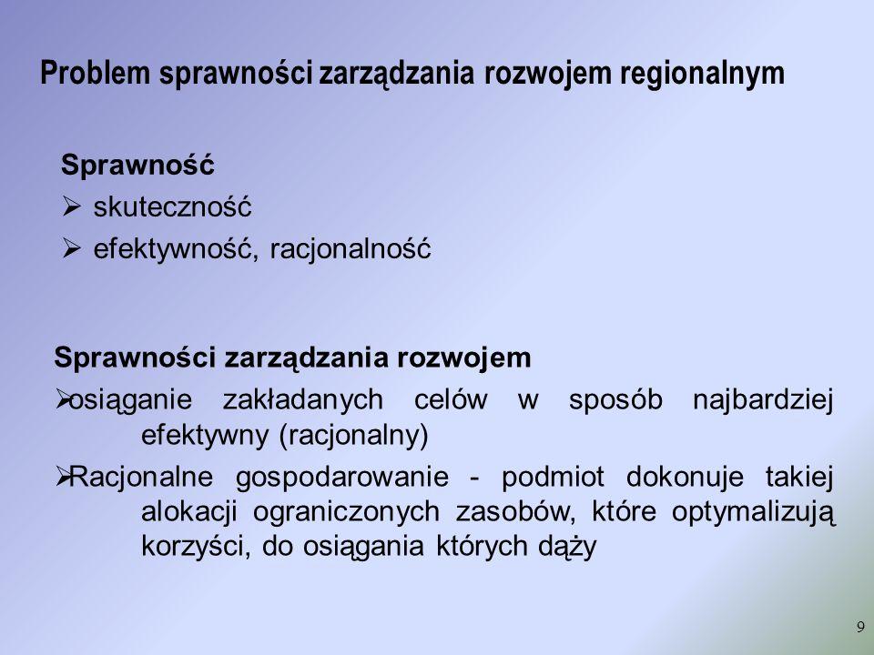 Problem sprawności zarządzania rozwojem regionalnym