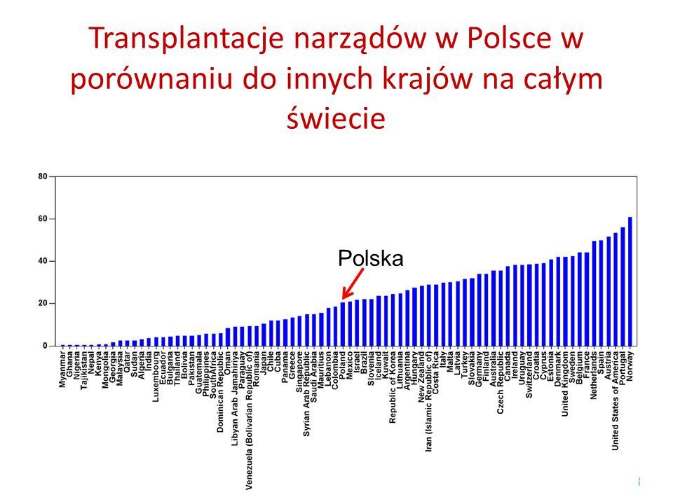 Transplantacje narządów w Polsce w porównaniu do innych krajów na całym świecie