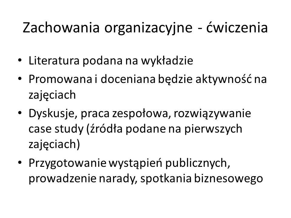 Zachowania organizacyjne - ćwiczenia