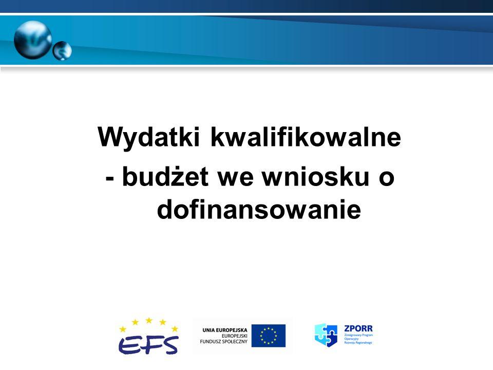 Wydatki kwalifikowalne - budżet we wniosku o dofinansowanie