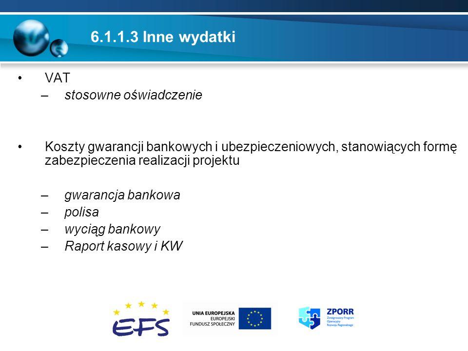 6.1.1.3 Inne wydatki VAT stosowne oświadczenie