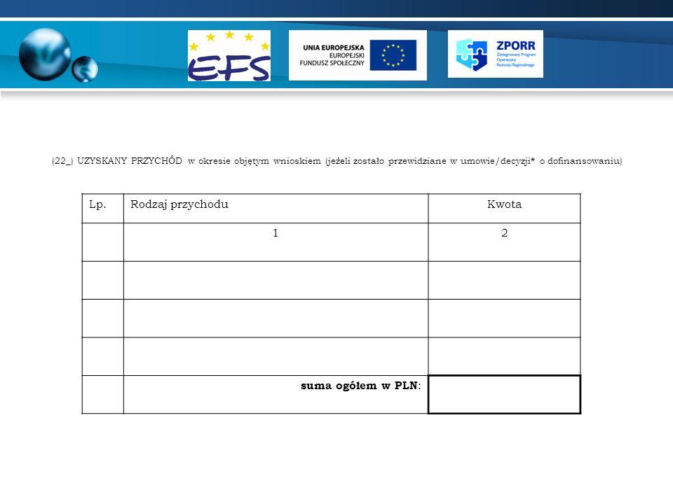 Lp. Rodzaj przychodu Kwota 1 2 suma ogółem w PLN: