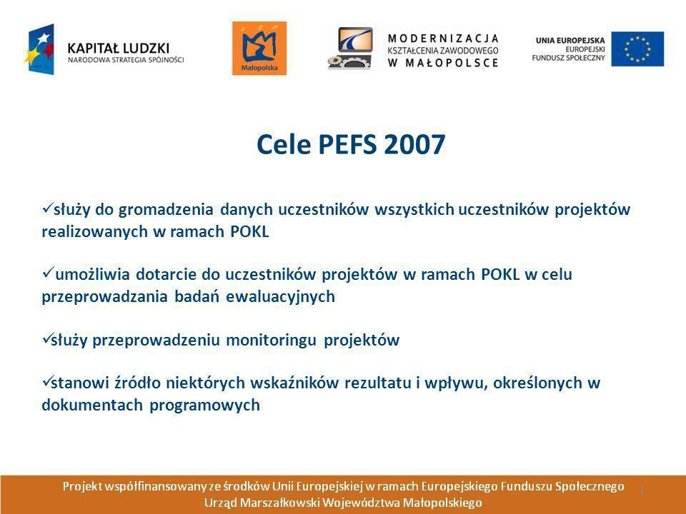 Cele PEFS 2007służy do gromadzenia danych uczestników wszystkich uczestników projektów realizowanych w ramach POKL.