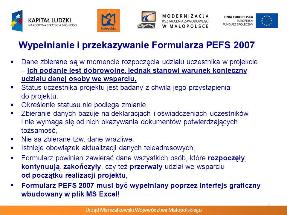 Wypełnianie i przekazywanie Formularza PEFS 2007