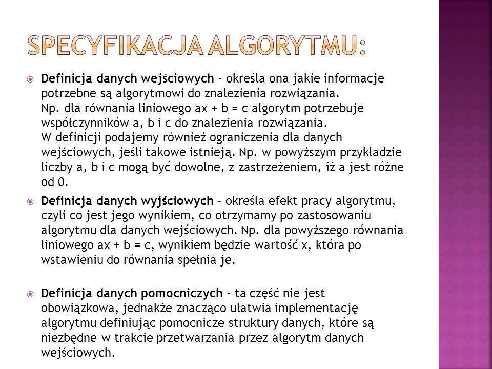 Specyfikacja algorytmu: