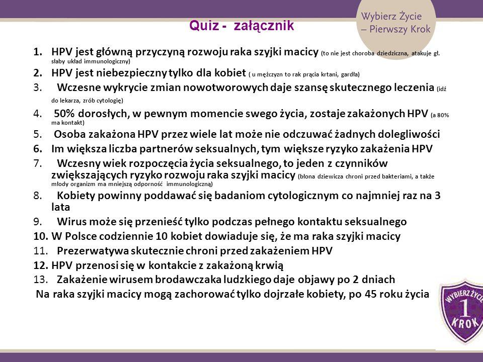 Quiz - załącznikHPV jest główną przyczyną rozwoju raka szyjki macicy (to nie jest choroba dziedziczna, atakuje gł. słaby układ immunologiczny)