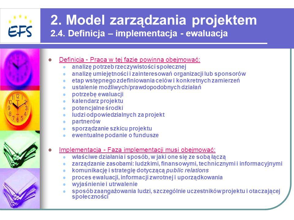 2. Model zarządzania projektem 2. 4