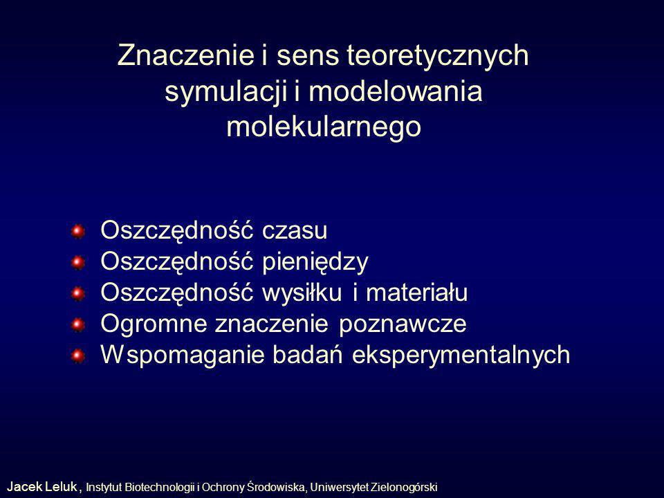 Znaczenie i sens teoretycznych symulacji i modelowania molekularnego