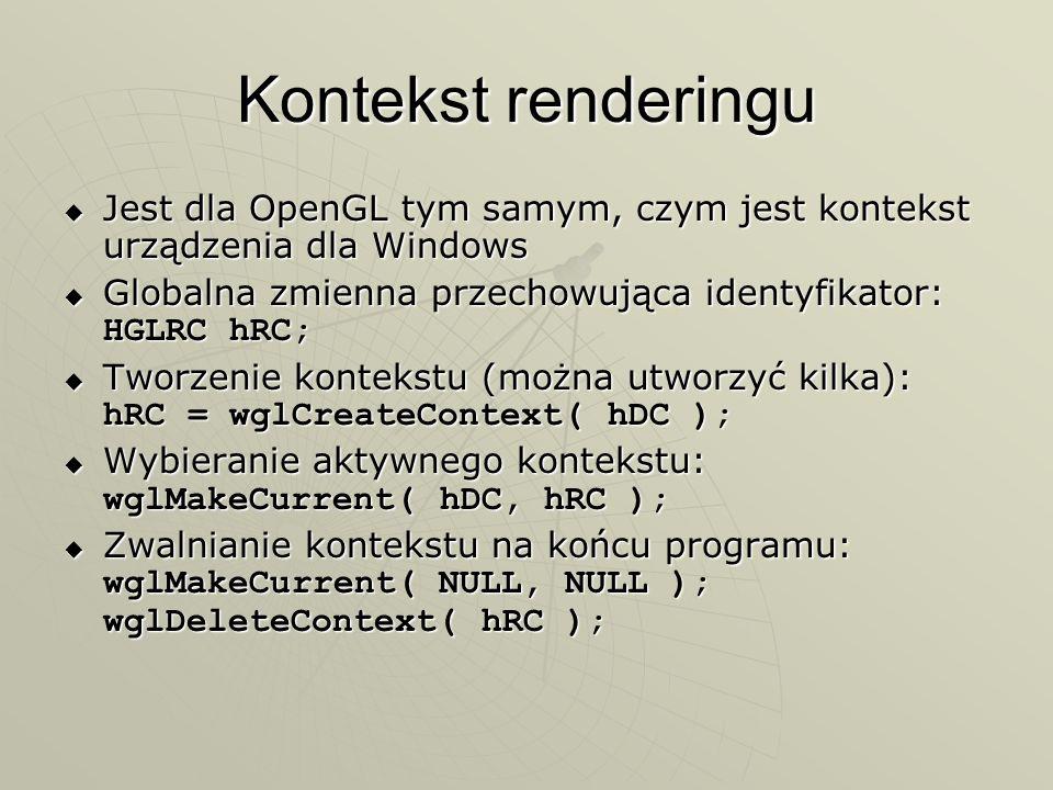 Kontekst renderinguJest dla OpenGL tym samym, czym jest kontekst urządzenia dla Windows. Globalna zmienna przechowująca identyfikator: HGLRC hRC;