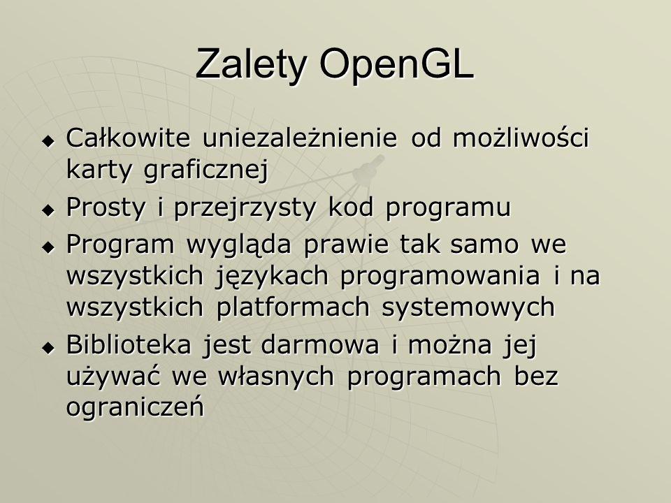 Zalety OpenGL Całkowite uniezależnienie od możliwości karty graficznej