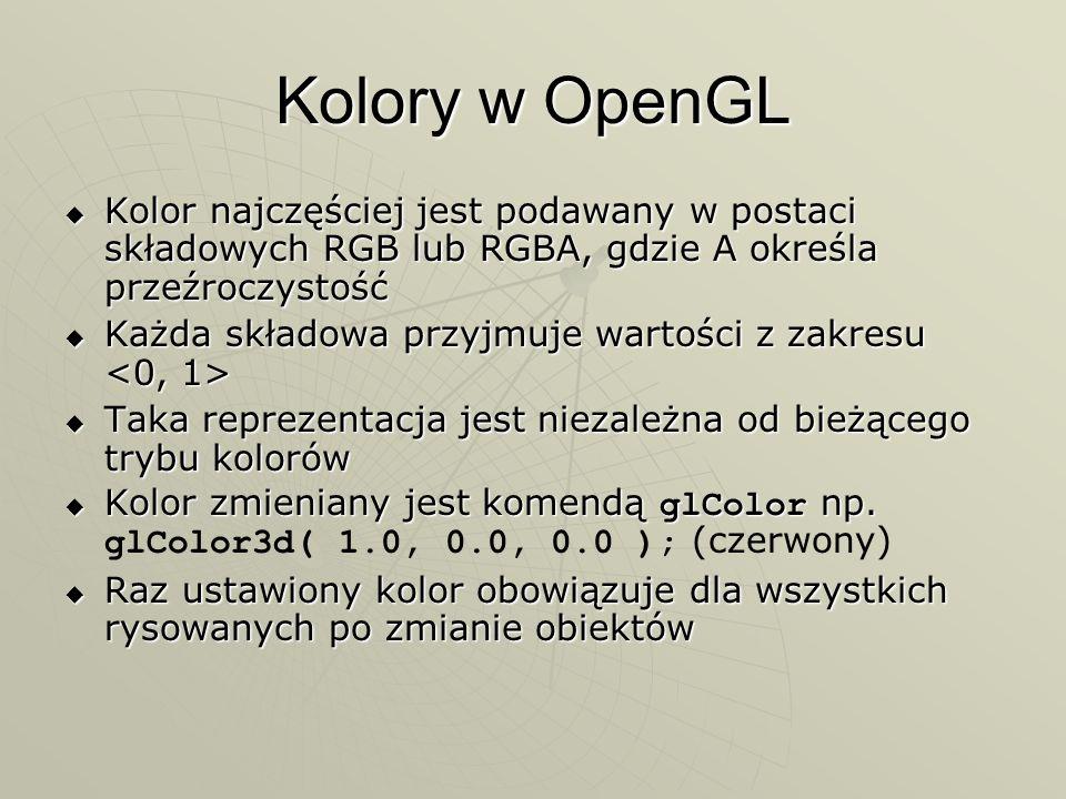 Kolory w OpenGL Kolor najczęściej jest podawany w postaci składowych RGB lub RGBA, gdzie A określa przeźroczystość.