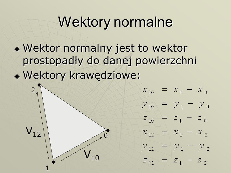 Wektory normalne Wektor normalny jest to wektor prostopadły do danej powierzchni. Wektory krawędziowe: