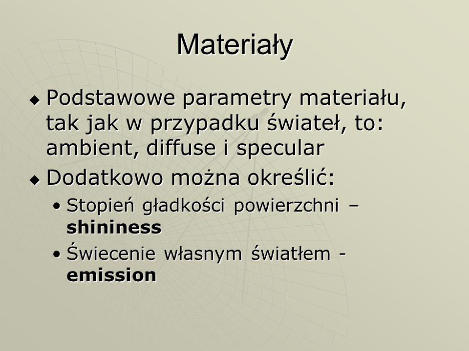 Materiały Podstawowe parametry materiału, tak jak w przypadku świateł, to: ambient, diffuse i specular.
