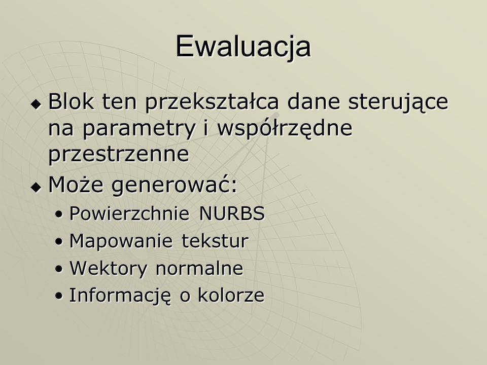EwaluacjaBlok ten przekształca dane sterujące na parametry i współrzędne przestrzenne. Może generować: