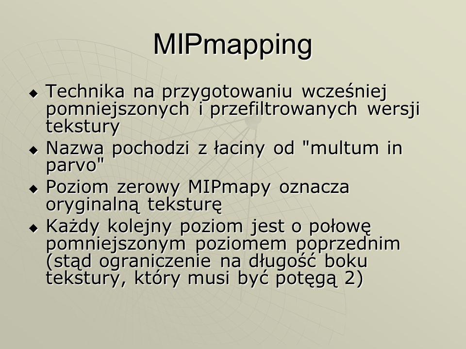 MIPmapping Technika na przygotowaniu wcześniej pomniejszonych i przefiltrowanych wersji tekstury. Nazwa pochodzi z łaciny od multum in parvo