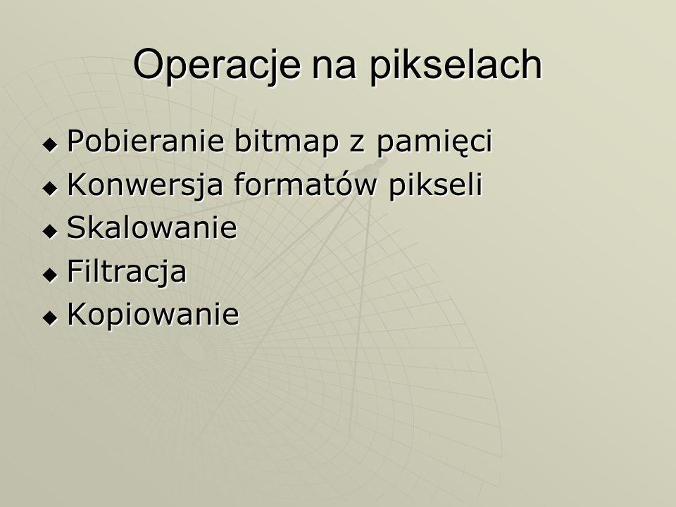 Operacje na pikselach Pobieranie bitmap z pamięci