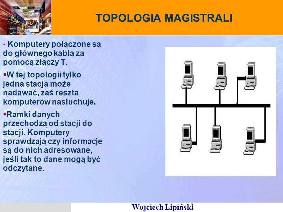 TOPOLOGIA MAGISTRALI Komputery połączone są do głównego kabla za pomocą złączy T.