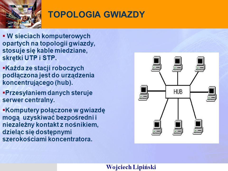 TOPOLOGIA GWIAZDY W sieciach komputerowych opartych na topologii gwiazdy, stosuje się kable miedziane, skrętki UTP i STP.