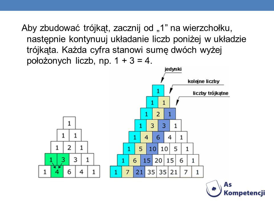 """Aby zbudować trójkąt, zacznij od """"1 na wierzchołku, następnie kontynuuj układanie liczb poniżej w układzie trójkąta."""