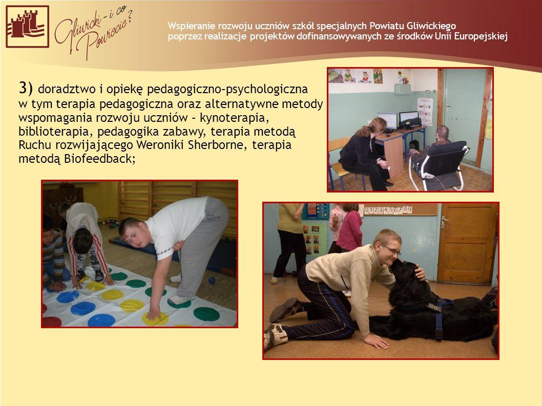 3) doradztwo i opiekę pedagogiczno–psychologiczna