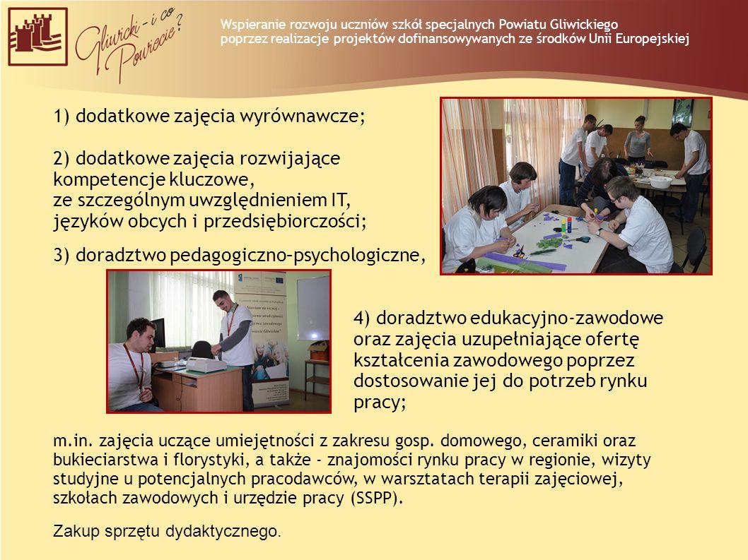 dodatkowe zajęcia wyrównawcze; 2) dodatkowe zajęcia rozwijające