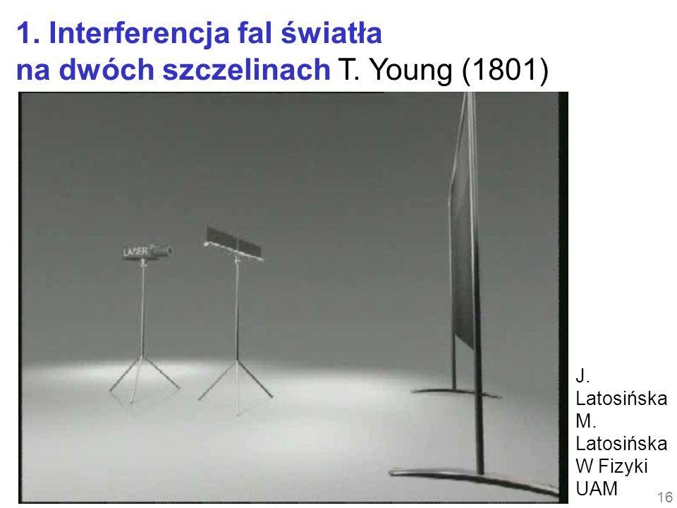 1. Interferencja fal światła na dwóch szczelinach T. Young (1801)