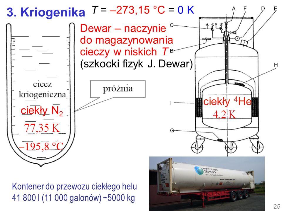 3. Kriogenika T = –273,15 °C = 0 K Dewar – naczynie do magazynowania